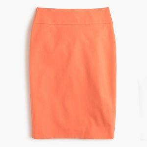 J. Crew No. 2 Bi Stretch Coral Orange Pencil Skirt